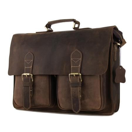 Кожаный портфель JMD 7105B brown