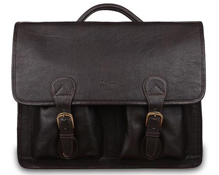 Кожаный портфель Ashwood Leather 8190 dark brown