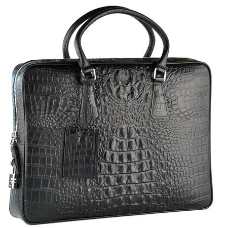 """Кожаная сумка """"под крокодила"""" P602-5 black"""